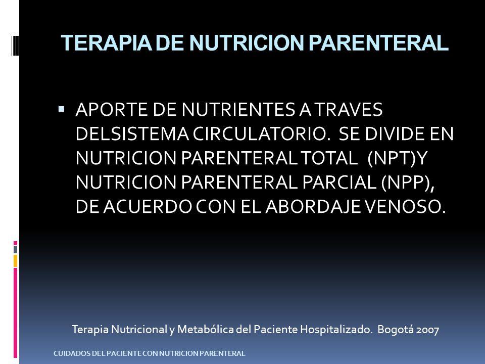 NUTRICION PARENTERAL TOTAL –NPT- ADMINISTRADADA A TRAVES DE UN ACCESO VENOSO CENTRAL.