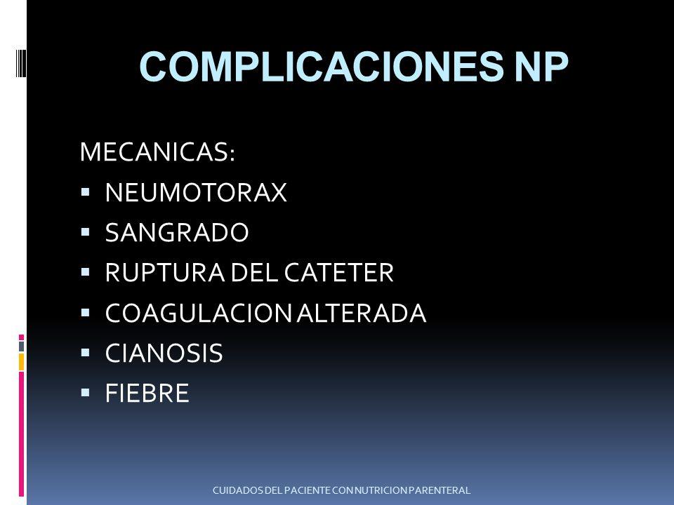 COMPLICACIONES NP METABOLICAS HIPERGLICEMIA COMA HIPEROSMOLAR CETOACIDOSIS HIPO/HIPERFOSFATEMIA HIPO/HIPERNATREMIA HIPO/HIPERCALCEMIA HIPO/HIPERMAGNESEMIA CUIDADOS DEL PACIENTE CON NUTRICION PARENTERAL