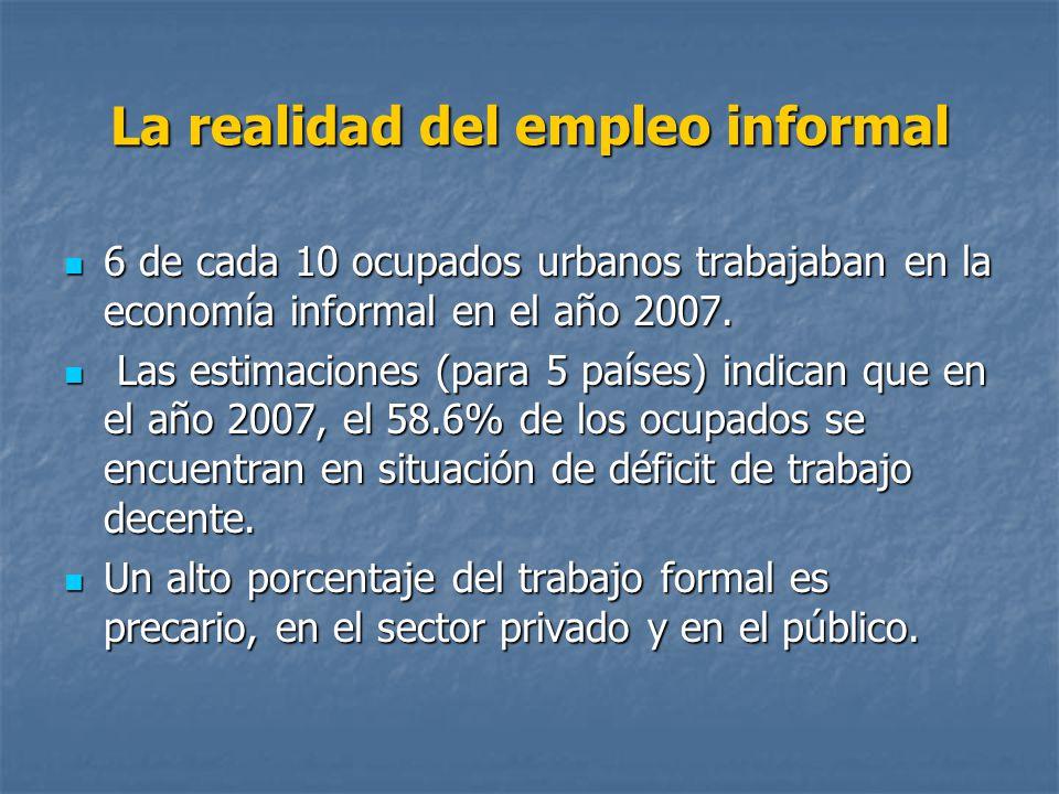 La realidad del empleo informal 6 de cada 10 ocupados urbanos trabajaban en la economía informal en el año 2007. 6 de cada 10 ocupados urbanos trabaja