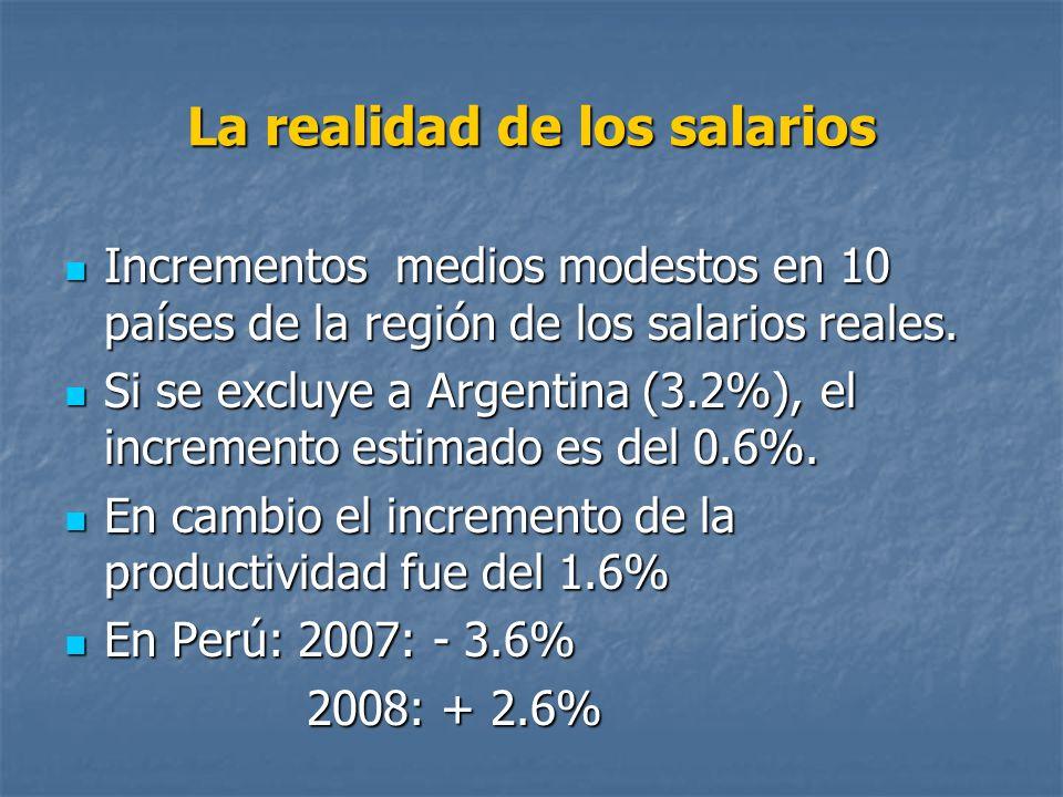 La realidad de los salarios Incrementos medios modestos en 10 países de la región de los salarios reales. Incrementos medios modestos en 10 países de