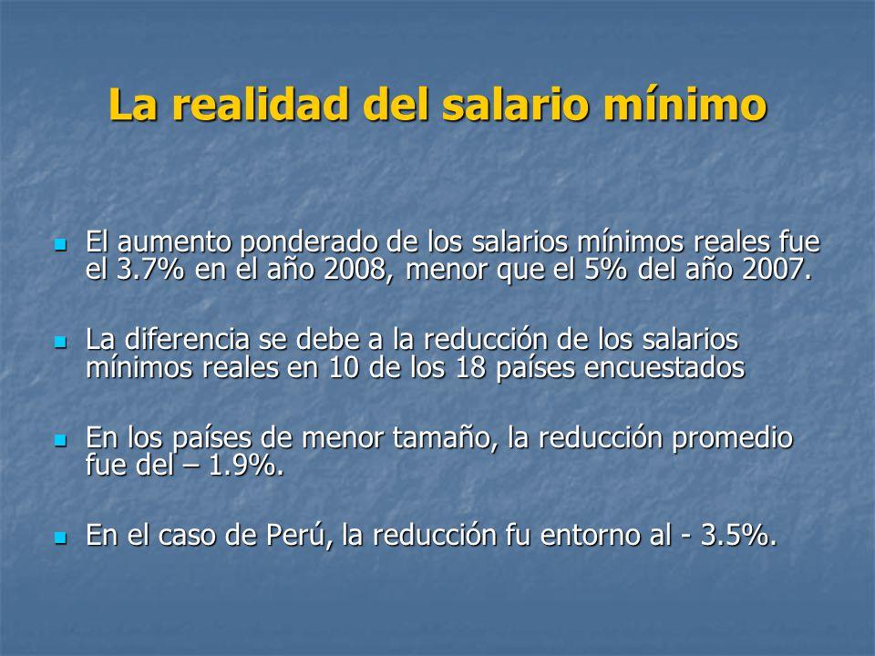 La realidad del salario mínimo El aumento ponderado de los salarios mínimos reales fue el 3.7% en el año 2008, menor que el 5% del año 2007. El aument