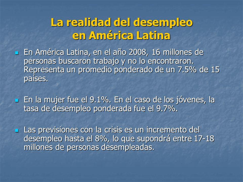 La realidad del desempleo en América Latina En América Latina, en el año 2008, 16 millones de personas buscaron trabajo y no lo encontraron. Represent