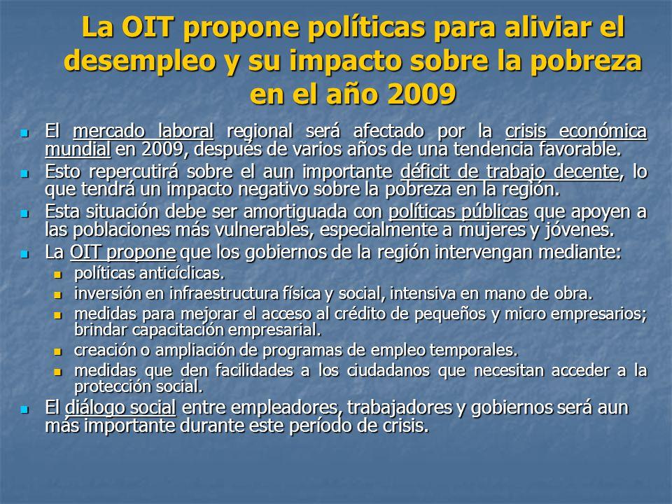 La OIT propone políticas para aliviar el desempleo y su impacto sobre la pobreza en el año 2009 El mercado laboral regional será afectado por la crisi