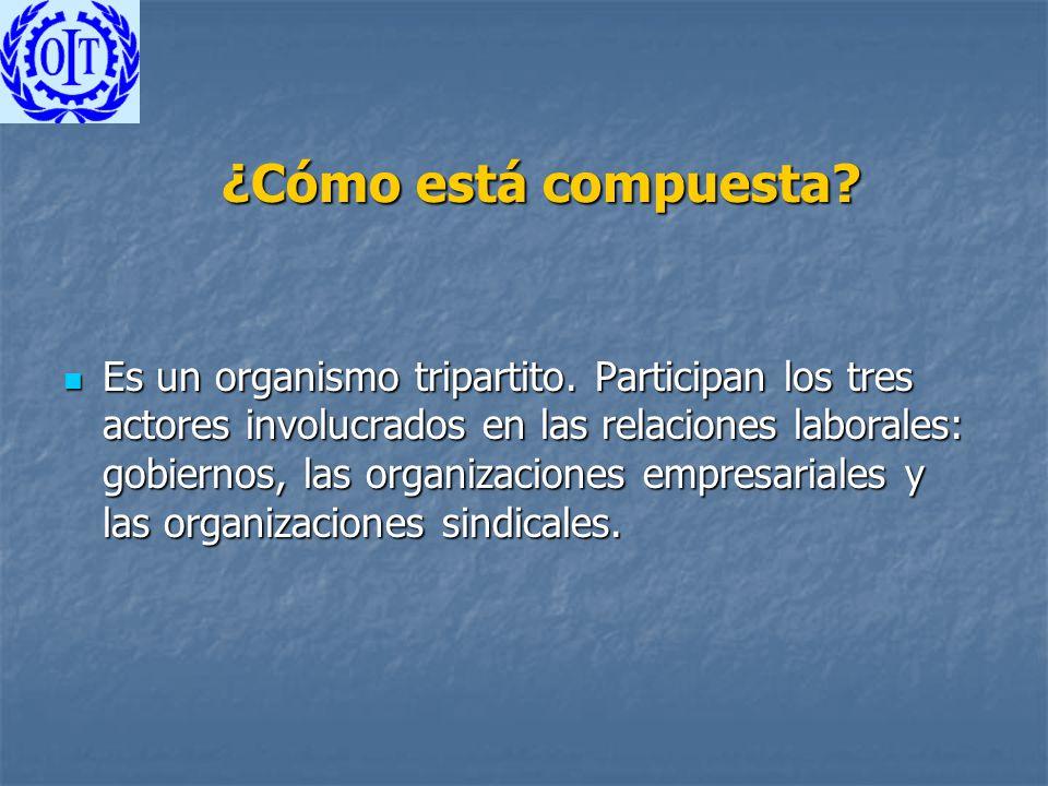 ¿Cómo está compuesta? Es un organismo tripartito. Participan los tres actores involucrados en las relaciones laborales: gobiernos, las organizaciones