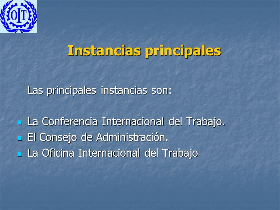 Instancias principales Las principales instancias son: La Conferencia Internacional del Trabajo. La Conferencia Internacional del Trabajo. El Consejo