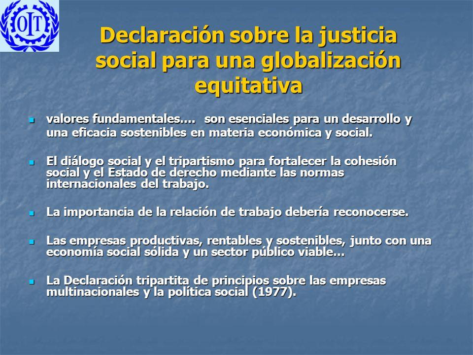 Declaración sobre la justicia social para una globalización equitativa valores fundamentales…. son esenciales para un desarrollo y una eficacia sosten
