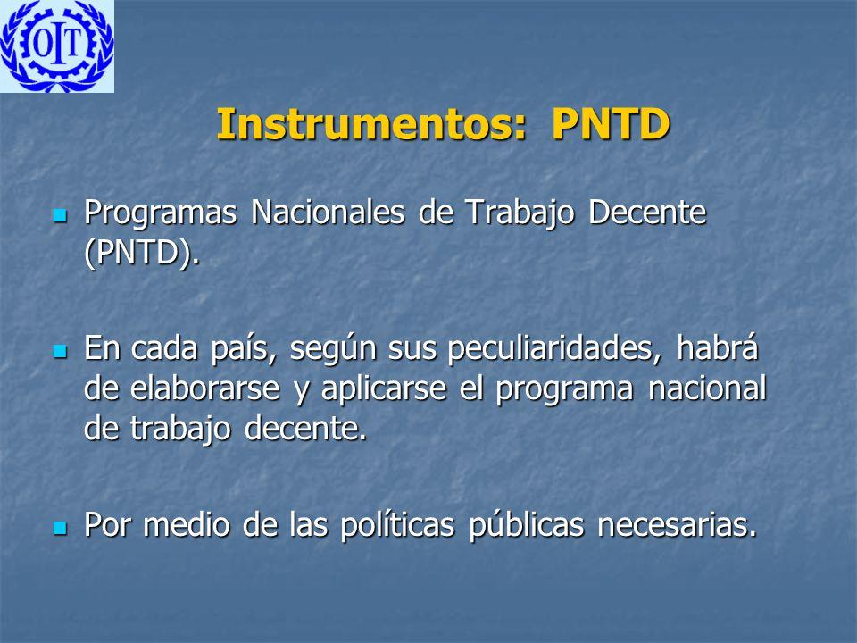 Instrumentos: PNTD Programas Nacionales de Trabajo Decente (PNTD). Programas Nacionales de Trabajo Decente (PNTD). En cada país, según sus peculiarida