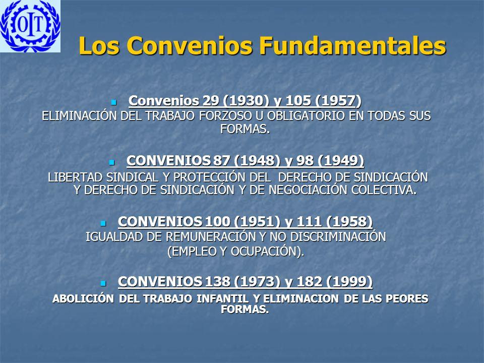 Los Convenios Fundamentales Convenios 29 (1930) y 105 (1957) Convenios 29 (1930) y 105 (1957) ELIMINACIÓN DEL TRABAJO FORZOSO U OBLIGATORIO EN TODAS S