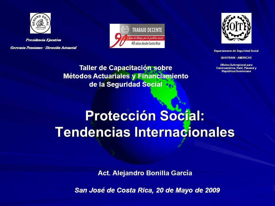 Métodos tradicionales protección social Seguro social Sistemas universales Asistencia social –Programas tradicionales –Transferencias condicionadas Sistemas de ahorro individual