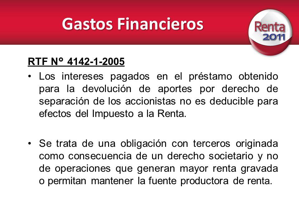 Gastos Financieros RTF N° 4142-1-2005 Los intereses pagados en el préstamo obtenido para la devolución de aportes por derecho de separación de los acc