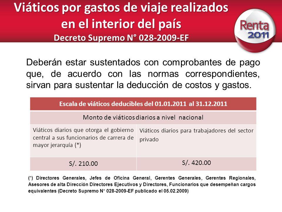 Viáticos por gastos de viaje realizados en el interior del país Decreto Supremo N° 028-2009-EF Deberán estar sustentados con comprobantes de pago que,