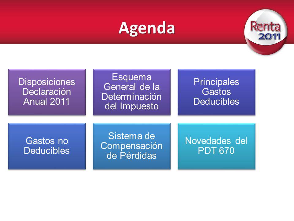 Agenda Disposiciones Declaración Anual 2011 Esquema General de la Determinación del Impuesto Principales Gastos Deducibles Gastos no Deducibles Sistem