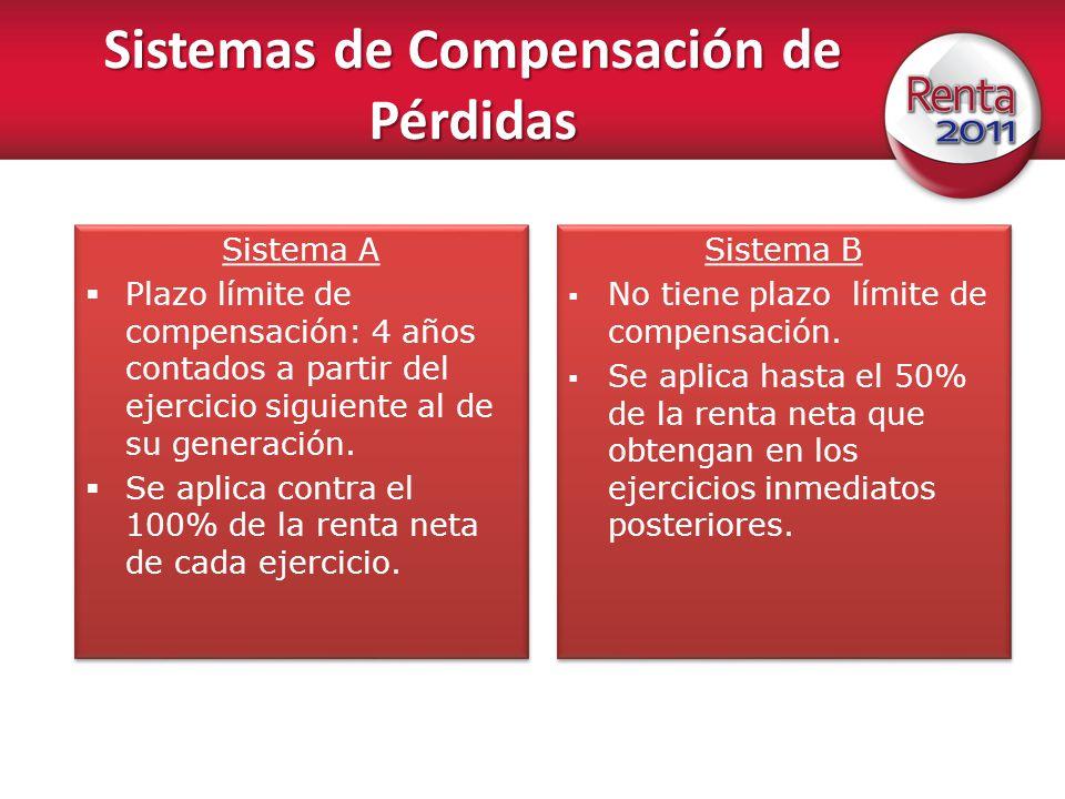 Sistemas de Compensación de Pérdidas Sistema A Plazo límite de compensación: 4 años contados a partir del ejercicio siguiente al de su generación. Se