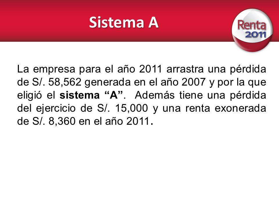 Sistema A La empresa para el año 2011 arrastra una pérdida de S/. 58,562 generada en el año 2007 y por la que eligió el sistema A. Además tiene una pé