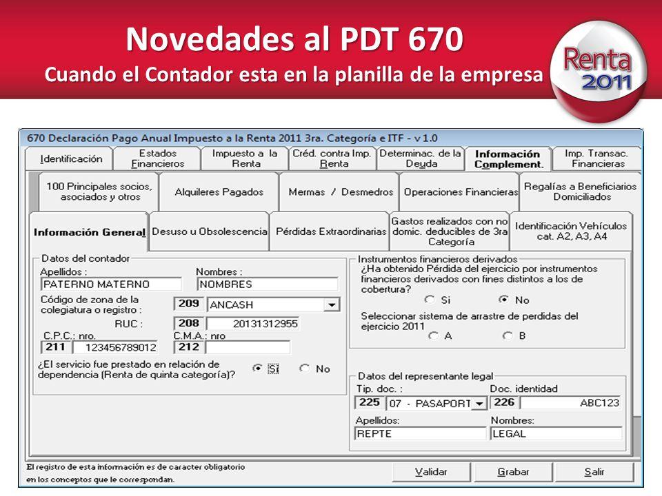 Novedades al PDT 670 Cuando el Contador esta en la planilla de la empresa