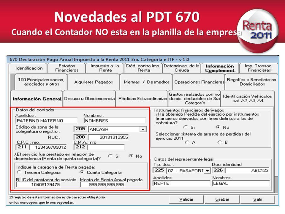 Novedades al PDT 670 Cuando el Contador NO esta en la planilla de la empresa