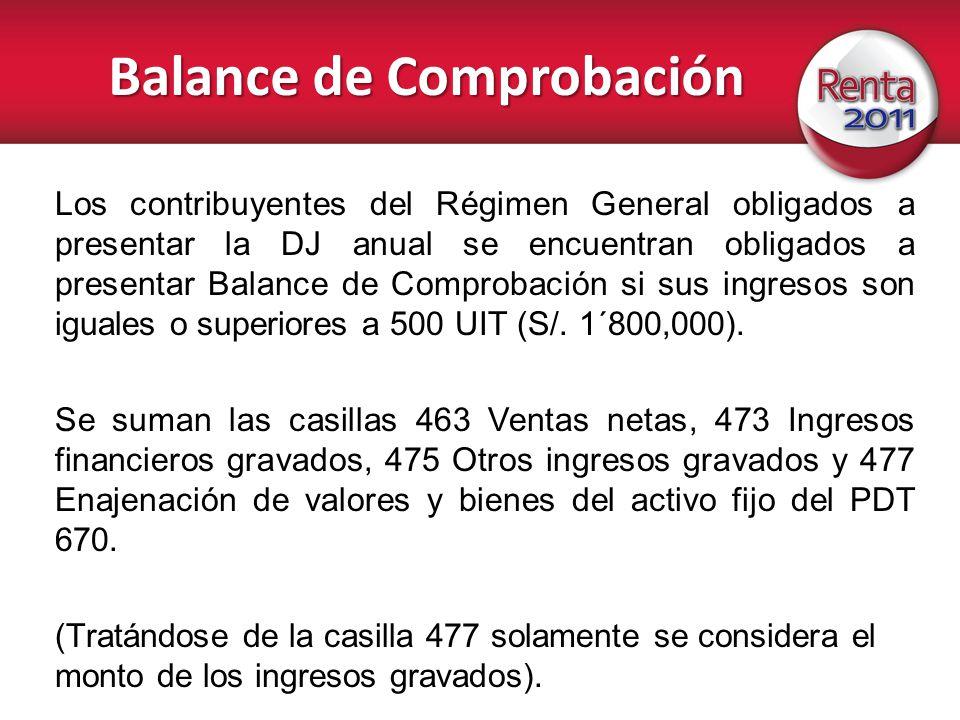 Balance de Comprobación Los contribuyentes del Régimen General obligados a presentar la DJ anual se encuentran obligados a presentar Balance de Compro