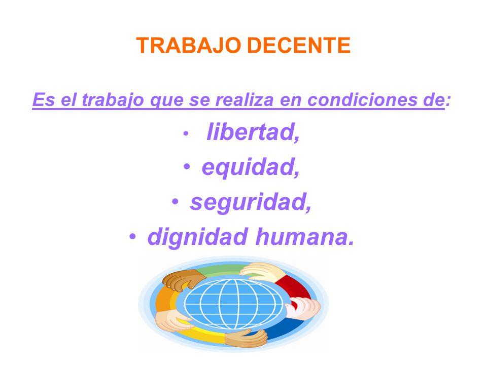 TRABAJO DECENTE Es el trabajo que se realiza en condiciones de: libertad, equidad, seguridad, dignidad humana.