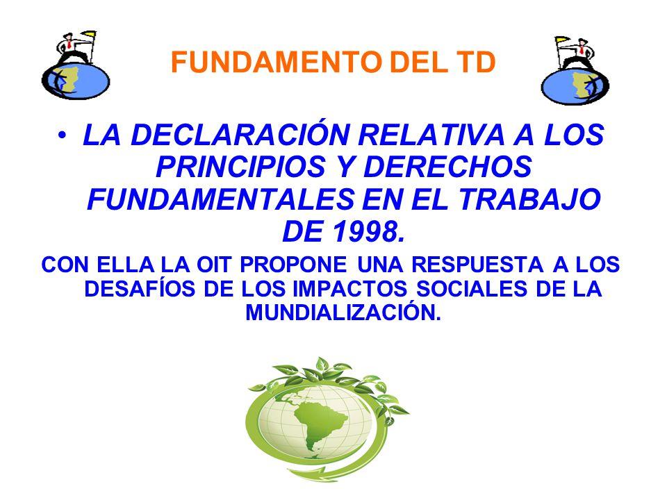 FUNDAMENTO DEL TD LA DECLARACIÓN RELATIVA A LOS PRINCIPIOS Y DERECHOS FUNDAMENTALES EN EL TRABAJO DE 1998. CON ELLA LA OIT PROPONE UNA RESPUESTA A LOS