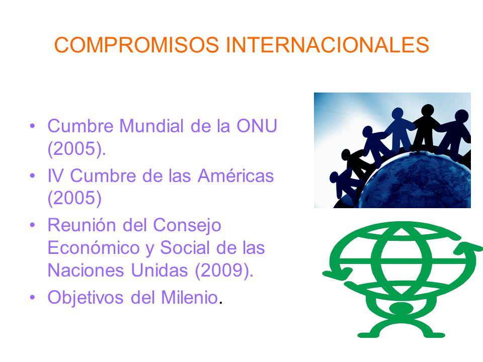 COMPROMISOS INTERNACIONALES Cumbre Mundial de la ONU (2005). IV Cumbre de las Américas (2005) Reunión del Consejo Económico y Social de las Naciones U