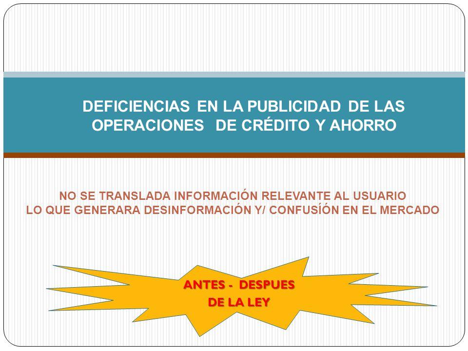 DEFICIENCIAS EN LA PUBLICIDAD DE LAS OPERACIONES DE CRÉDITO Y AHORRO NO SE TRANSLADA INFORMACIÓN RELEVANTE AL USUARIO LO QUE GENERARA DESINFORMACIÓN Y/ CONFUSÍÓN EN EL MERCADO ANTES - DESPUES DE LA LEY