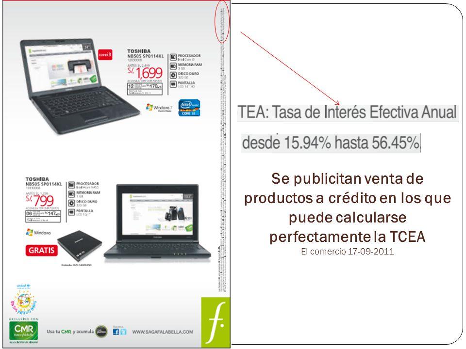 Se publicitan venta de productos a crédito en los que puede calcularse perfectamente la TCEA El comercio 17-09-2011