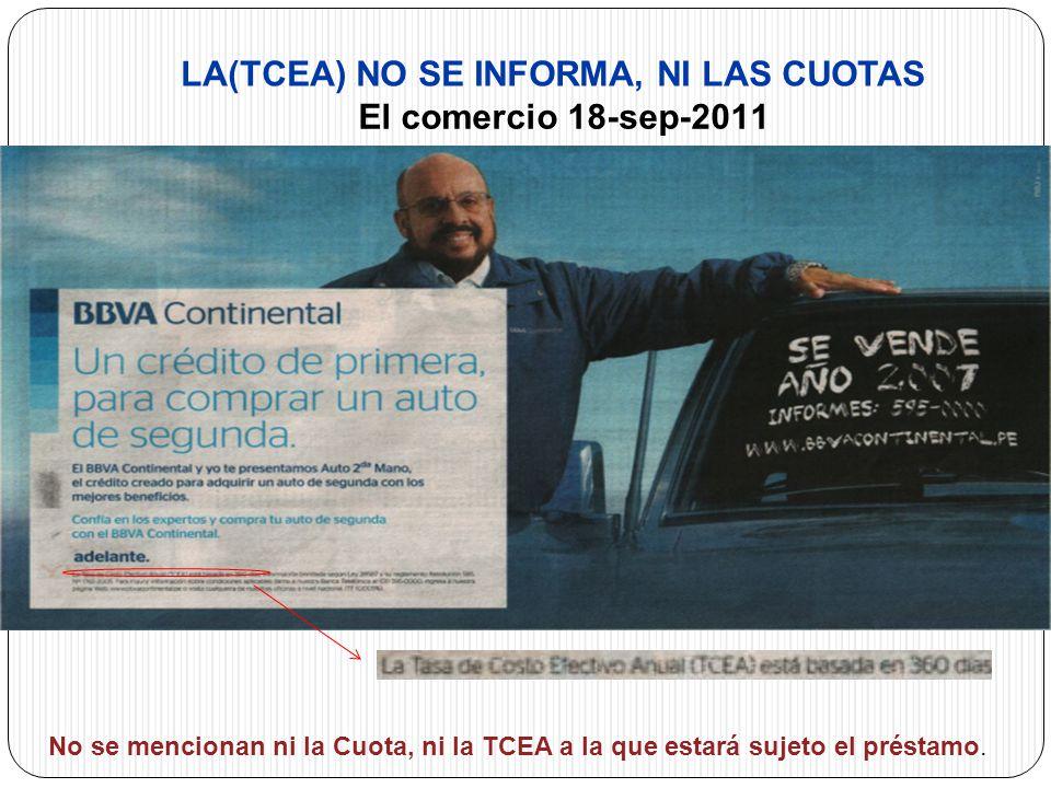 OBJETO DE LA LEY No se mencionan ni la Cuota, ni la TCEA a la que estará sujeto el préstamo.