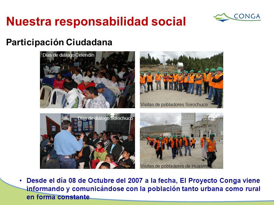 Desde el día 08 de Octubre del 2007 a la fecha, El Proyecto Conga viene informando y comunicándose con la población tanto urbana como rural en forma c