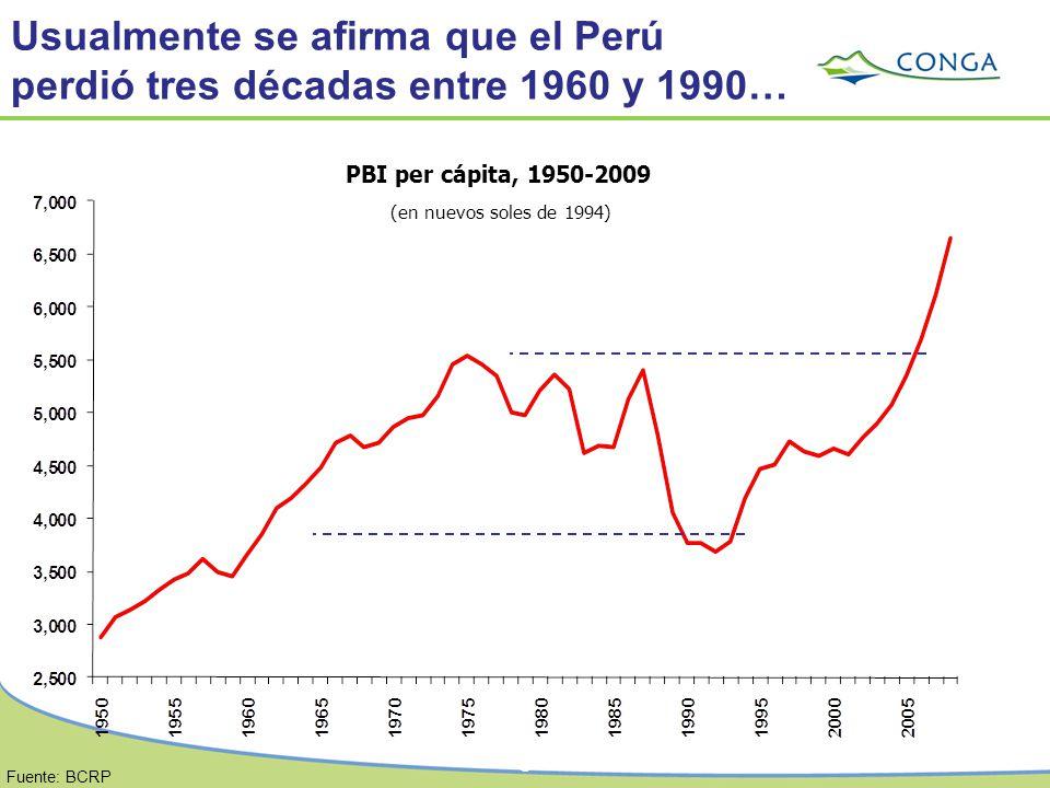 6 PBI per cápita, 1950-2009 (en nuevos soles de 1994) Fuente: BCRP Usualmente se afirma que el Perú perdió tres décadas entre 1960 y 1990…