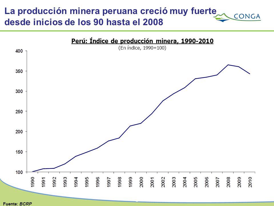 8 Perú: Índice de producción minera, 1990-2010 (En índice, 1990=100) Fuente: BCRP La producción minera peruana creció muy fuerte desde inicios de los