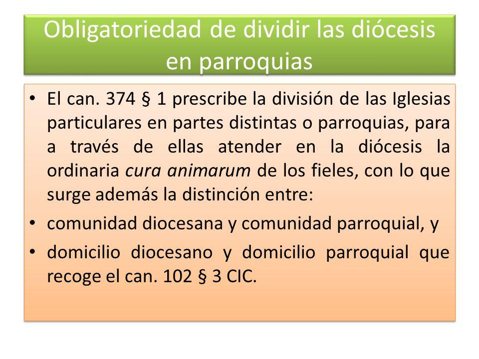 Obligatoriedad de dividir las diócesis en parroquias El can.