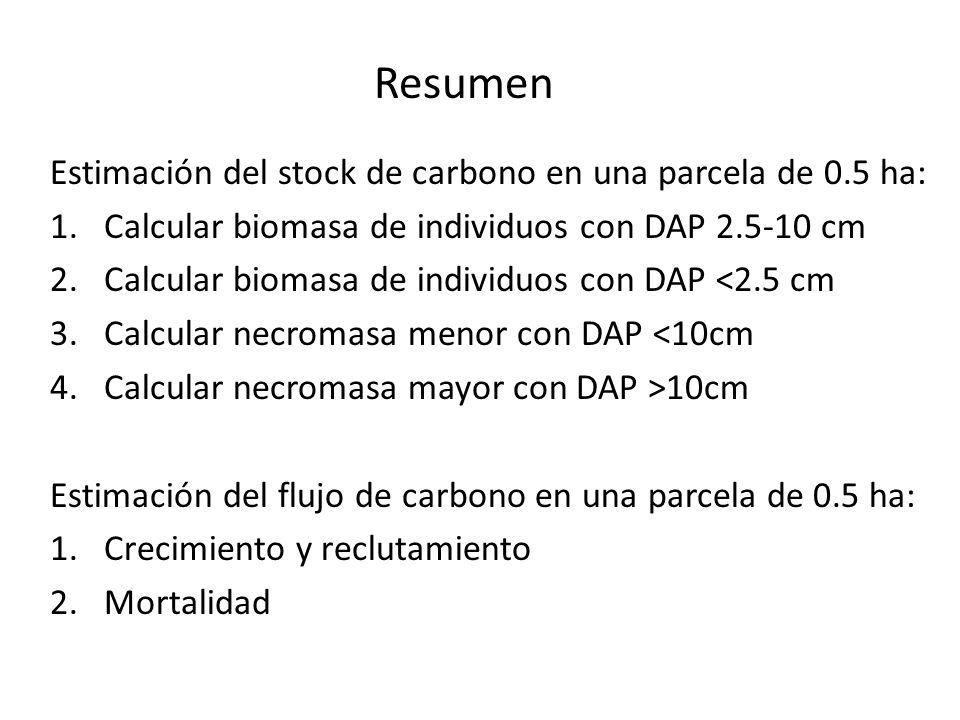 Resumen Estimación del stock de carbono en una parcela de 0.5 ha: 1.Calcular biomasa de individuos con DAP 2.5-10 cm 2.Calcular biomasa de individuos con DAP <2.5 cm 3.Calcular necromasa menor con DAP <10cm 4.Calcular necromasa mayor con DAP >10cm Estimación del flujo de carbono en una parcela de 0.5 ha: 1.Crecimiento y reclutamiento 2.Mortalidad