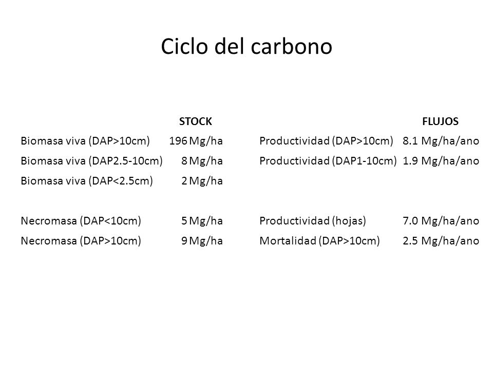 STOCKFLUJOS Biomasa viva (DAP>10cm)196Mg/haProductividad (DAP>10cm)8.1Mg/ha/ano Biomasa viva (DAP2.5-10cm)8Mg/haProductividad (DAP1-10cm)1.9Mg/ha/ano