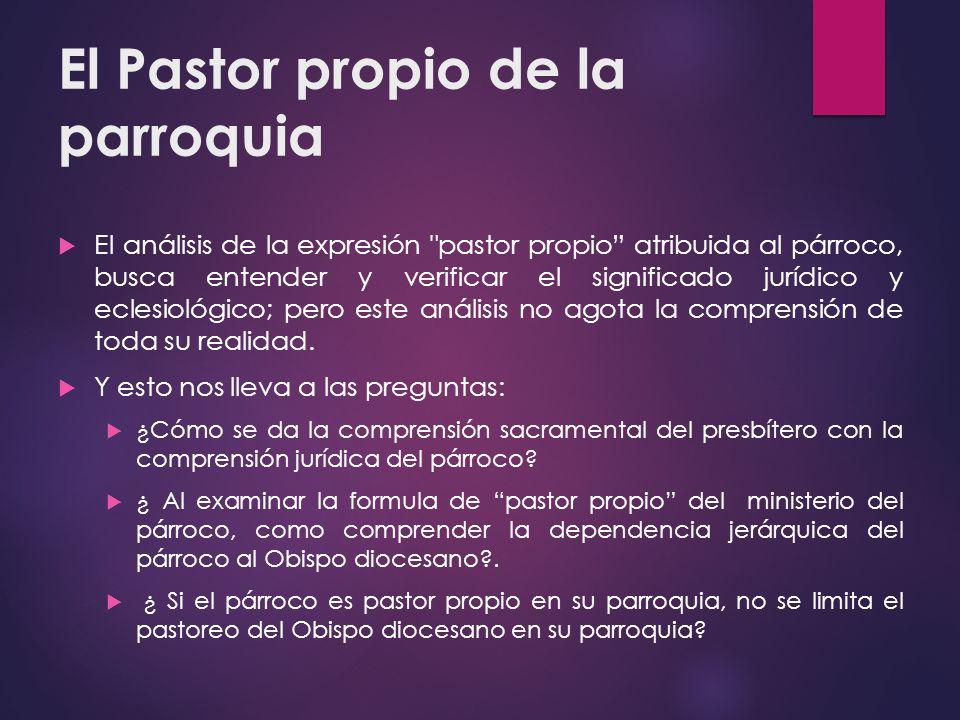 El Pastor propio de la parroquia El análisis de la expresión
