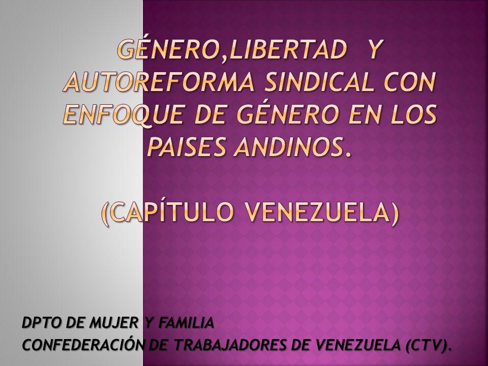 DPTO DE MUJER Y FAMILIA CONFEDERACIÓN DE TRABAJADORES DE VENEZUELA (CTV).