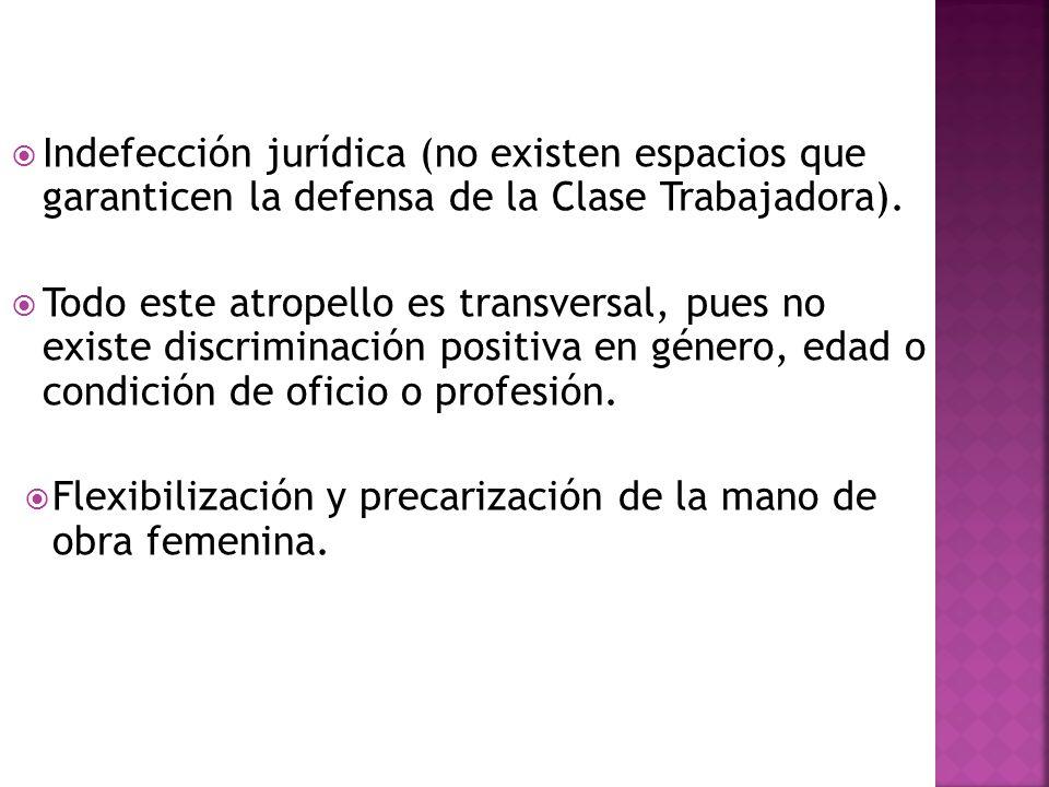 Indefección jurídica (no existen espacios que garanticen la defensa de la Clase Trabajadora).