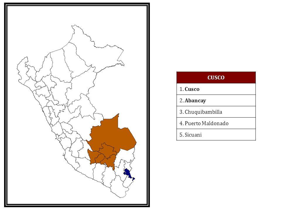 CUSCO 1. Cusco 2. Abancay 3. Chuquibambilla 4. Puerto Maldonado 5. Sicuani