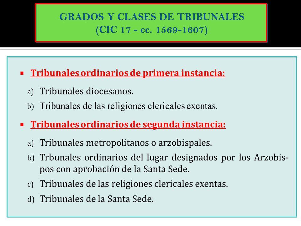 Tribunales ordinarios de primera instancia: a) Tribunales diocesanos. b) Tribunales de las religiones clericales exentas. Tribunales ordinarios de seg