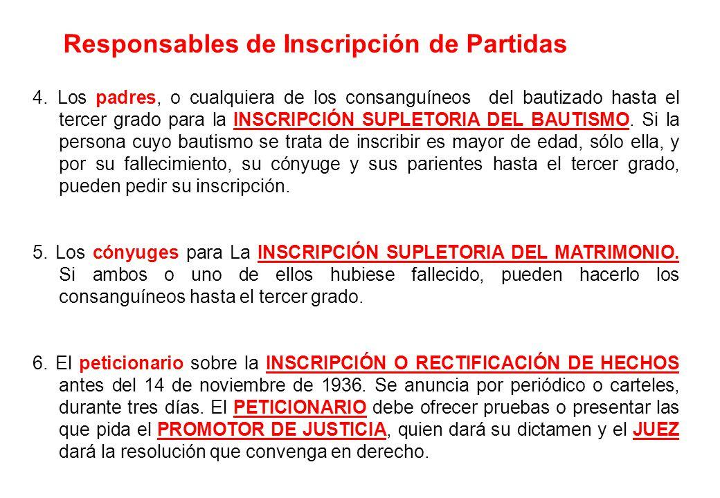 4. Los padres, o cualquiera de los consanguíneos del bautizado hasta el tercer grado para la INSCRIPCIÓN SUPLETORIA DEL BAUTISMO. Si la persona cuyo b