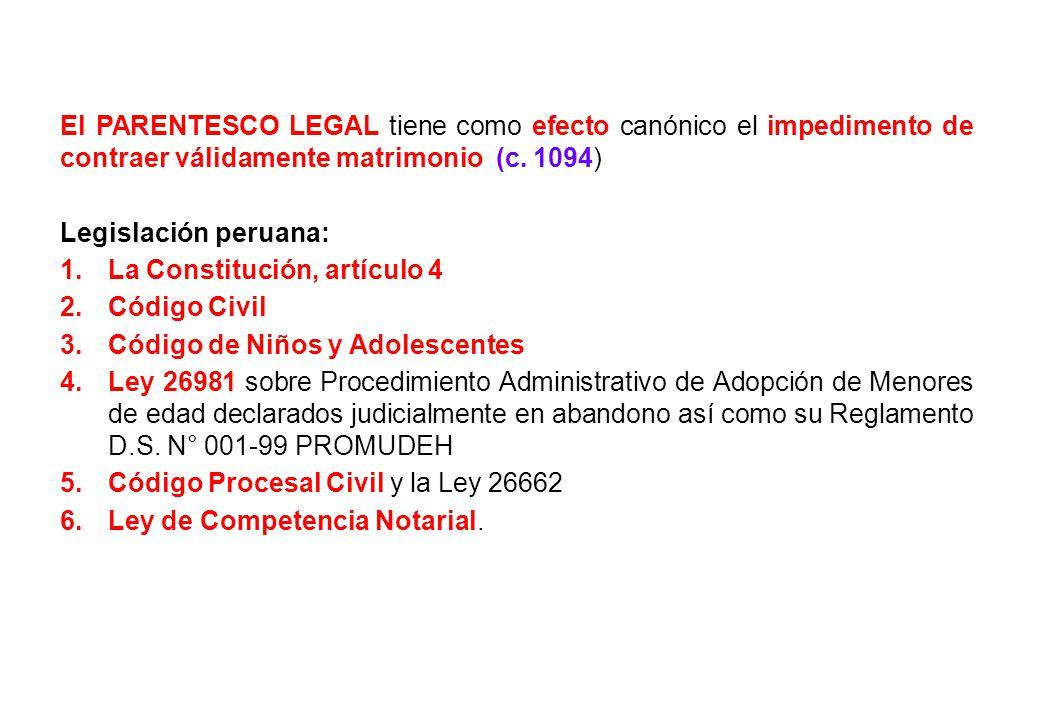 El PARENTESCO LEGAL tiene como efecto canónico el impedimento de contraer válidamente matrimonio (c. 1094) Legislación peruana: 1.La Constitución, art