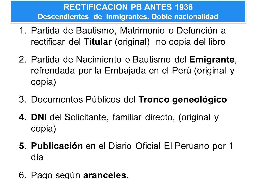 RECTIFICACION PB ANTES 1936 Descendientes de Inmigrantes. Doble nacionalidad 1.Partida de Bautismo, Matrimonio o Defunción a rectificar del Titular (o