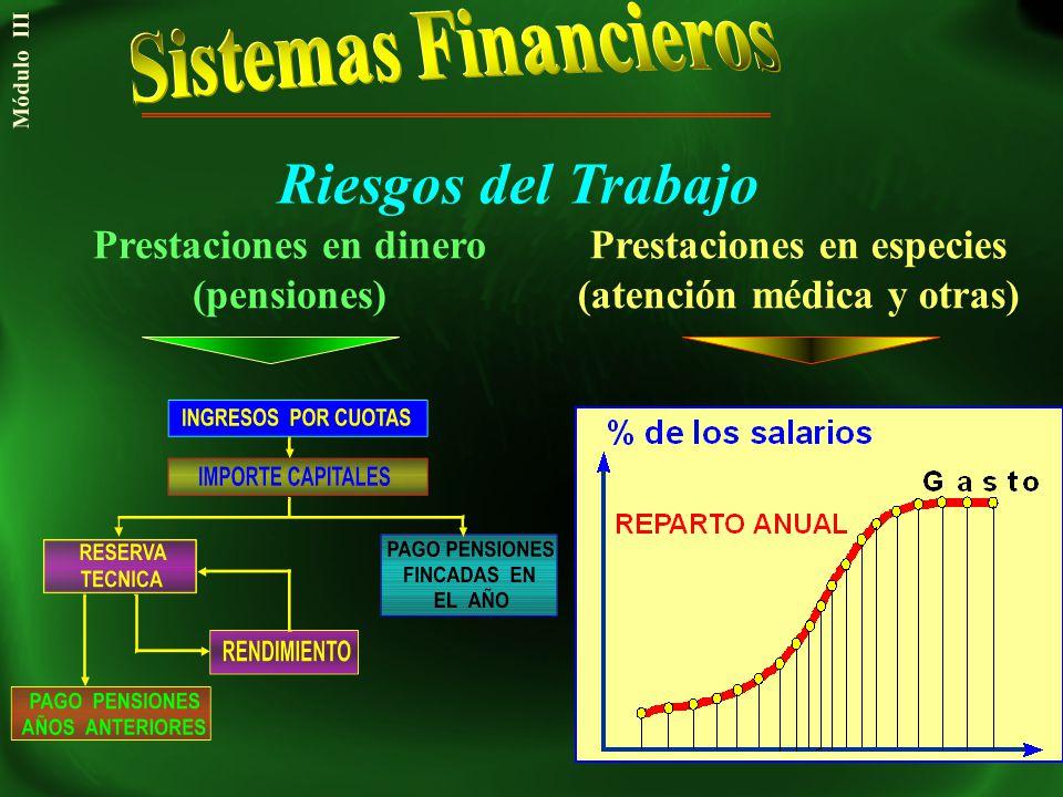 Riesgos del Trabajo Prestaciones en dinero (pensiones) Prestaciones en especies (atención médica y otras) Módulo III