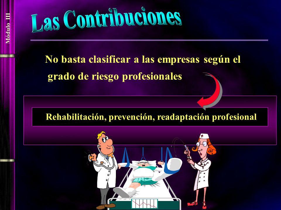 Módulo III No basta clasificar a las empresas según el grado de riesgo profesionales Rehabilitación, prevención, readaptación profesional