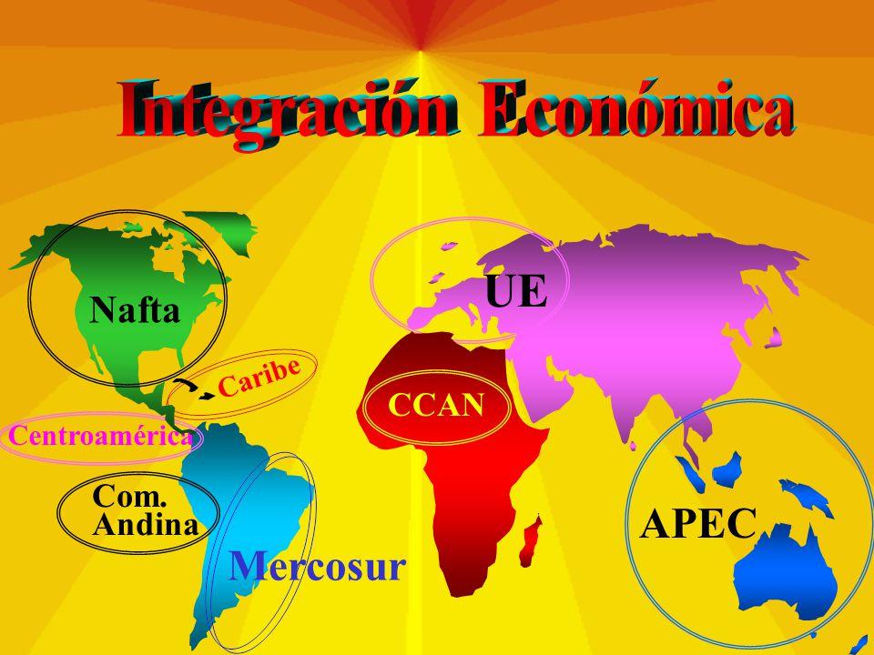 UE CCAN Mercosur Com. Andina Caribe Centroamérica Nafta APEC