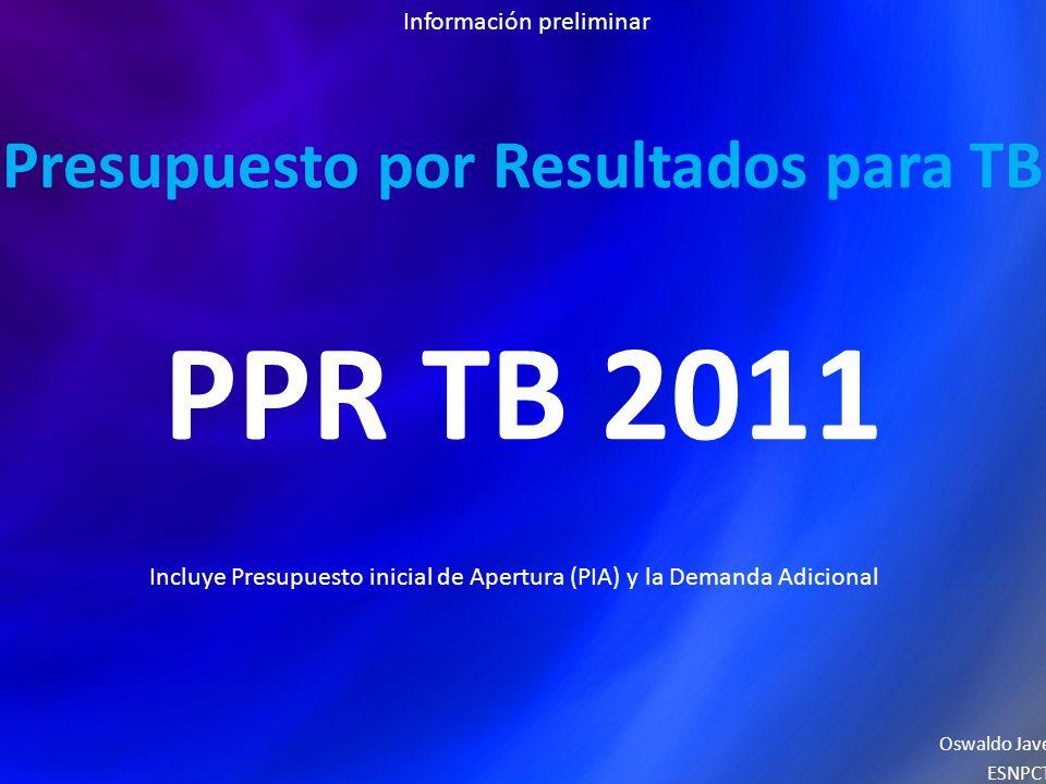 Presupuesto por Resultados para TB PPR TB 2011 Oswaldo Jave ESNPCT Incluye Presupuesto inicial de Apertura (PIA) y la Demanda Adicional Información preliminar