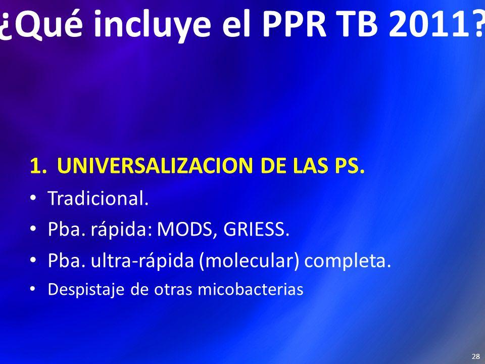¿Qué incluye el PPR TB 2011. 1.UNIVERSALIZACION DE LAS PS.
