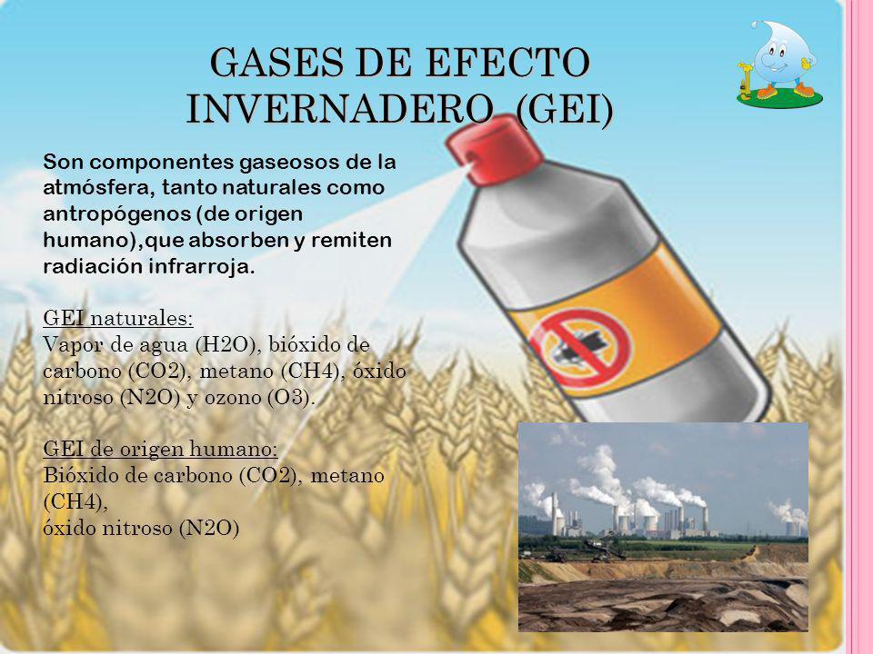 GASES DE EFECTO INVERNADERO (GEI) Son componentes gaseosos de la atmósfera, tanto naturales como antropógenos (de origen humano),que absorben y remite
