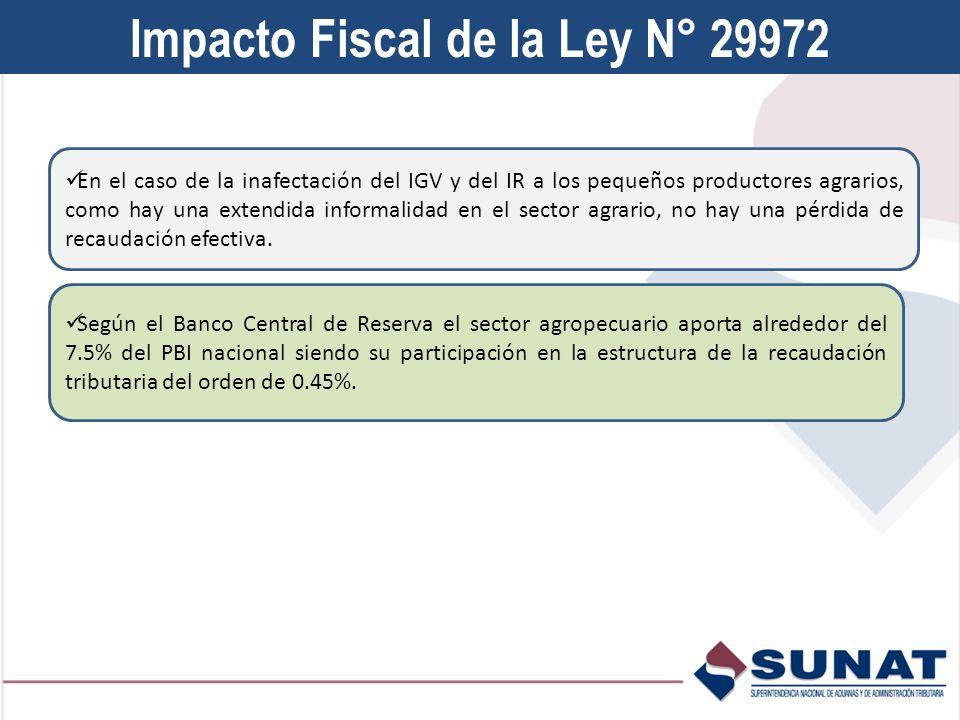 Impacto Fiscal de la Ley N° 29972 En el caso de la inafectación del IGV y del IR a los pequeños productores agrarios, como hay una extendida informalidad en el sector agrario, no hay una pérdida de recaudación efectiva.