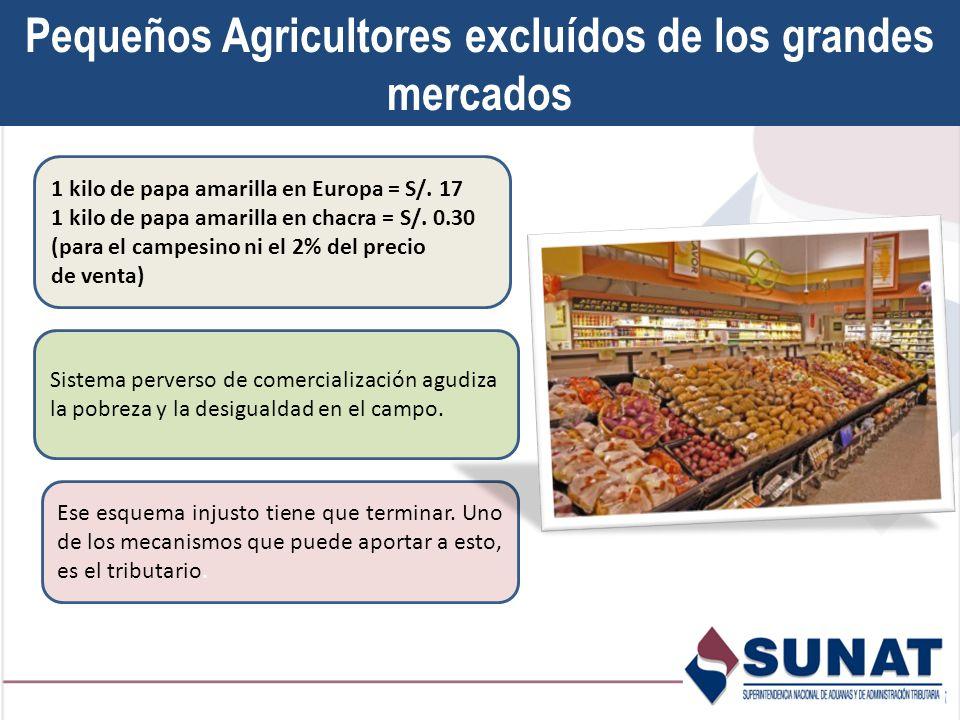 Pequeños Agricultores excluídos de los grandes mercados 1 kilo de papa amarilla en Europa = S/.