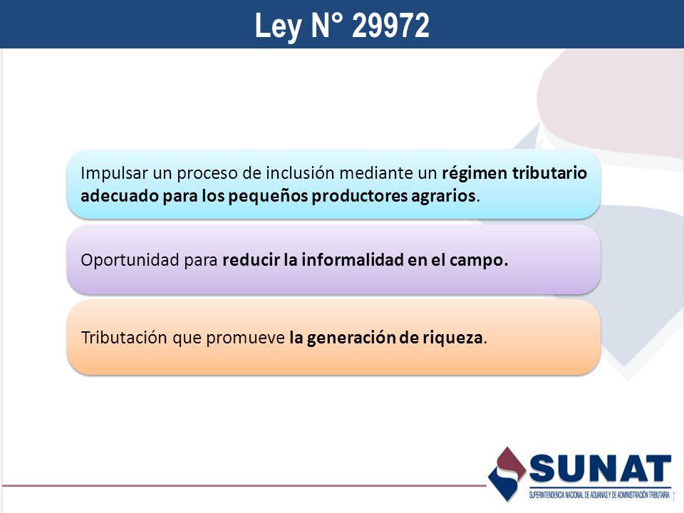 Ley N° 29972 Impulsar un proceso de inclusión mediante un régimen tributario adecuado para los pequeños productores agrarios.